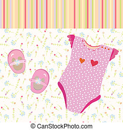Baby girl background with shoes and dress