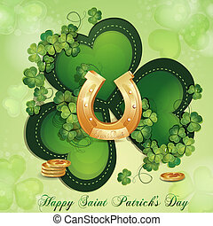Saint Patricks Day card with clover and horseshoe