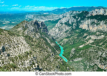 Gorges du Verdon european canyon and river aerial view....
