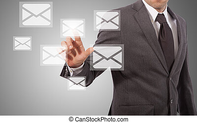 businessman open email - business man open email touching...