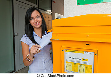 woman with a voting card (austria)