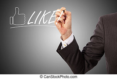 Handwritten like - businessman write like on presentation...