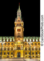 townhall in Hamburg by night