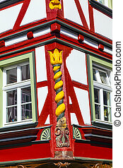 old town of wetzlar with timbered houses and carvings in the...