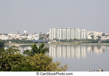 Hussein Sagar lake, Hyderabad - View from Necklace Road...