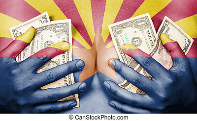 Sweaty girl covered her breast with money, flag of Arizona -...