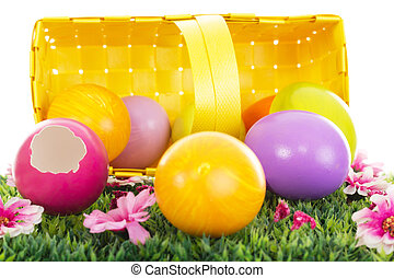 Easter eggs in a basket