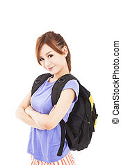smiling  asian girl with backpack