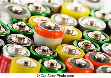 Composition with alkaline batteries. Chemical waste -...
