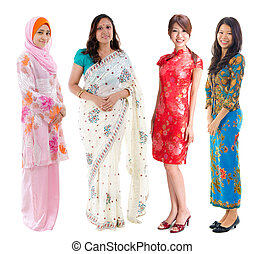 Southeast Asian group. - Group of Southeast Asian women in...