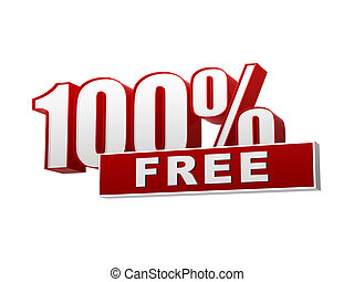 100 percentages free red white banner - letters and block -...
