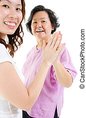 Asian family hand to hand - Asian family Asian senior parent...