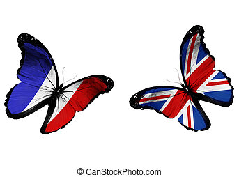 Concept - two butterflies with French and English flags...