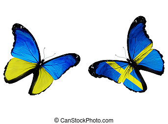 Concept - two butterflies with Ukrainian and Swedish flags...