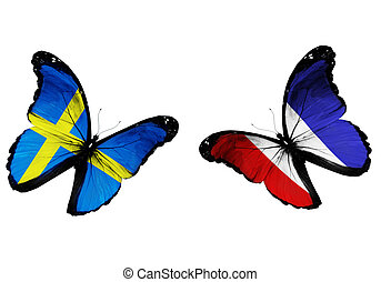 Concept - two butterflies with Swedish and French flags...