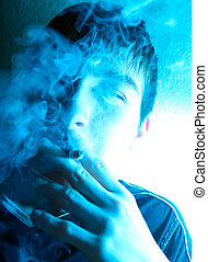 Young Man Smoking - Portrait of Smoking Young Man in the...