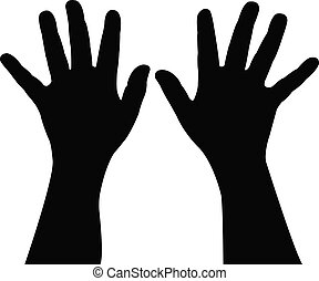 a pair child hand silhouette,vector
