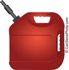 Canister fuel - Red plastic canister of gasoline. Vector...