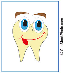 Tooth. Cartoon. Vector.