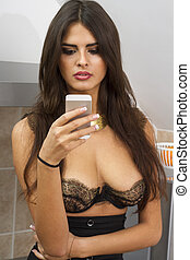 beutiful woman with mobile phone - beutiful young woman with...