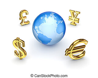 Currencies around EarthIsolated on white background3d...