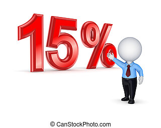 15% concept. - 15%.Isolated on white.3d rendered.