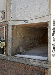 Empty marble tomb - death, mortality
