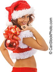 sexy Santa - sexy woman dressed as Santa Claus, isolated,...