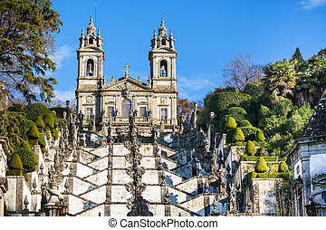 Bom Jesus do Monte Monastery, Braga, Portugal Bright Blue...