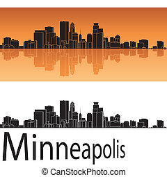 Minneapolis skyline in orange background in editable vector...