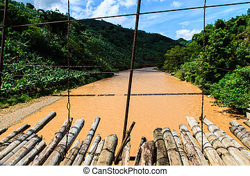 Bamboo bridge for crossing a river