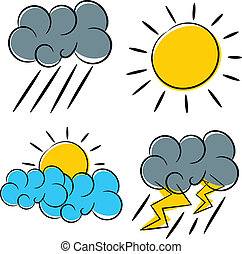 weather icon illustration - weather icon sun cloud rain and...