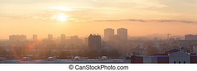 Panorama of early morning in Saint-Petersburg contemporary...