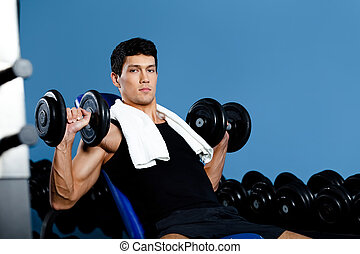Bodybuilder works out with weights - Bodybuilder exercises...