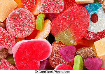 Mixed colorful jelly candies - chewy colored candies in the...
