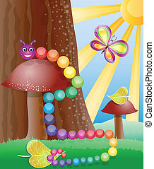 Cartoon picture with nature, butterly and caterpillar