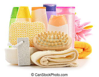 Body care accessories and beauty products isolated on white...