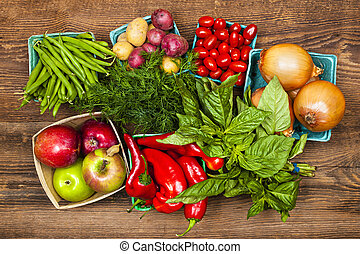 Market fruits and vegetables - Fresh farmers market fruit...