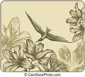 Vintage background with a flying bird and blooming lilies....