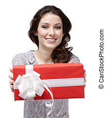 Young woman passes a present - Young woman passes a p0resent...