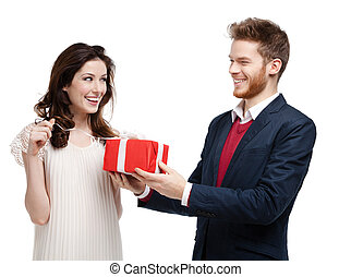 Man gives present to his girlfriend