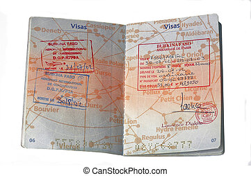 European passport and visa of Burkina Faso