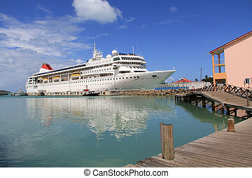 Cruise Ship Docked in Antigua Barbu - Cruise ship docked in...