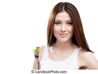 mujer, comida, fresco, ensalada, tenedor