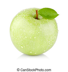 Single juicy green apple with leaves and drops of water...