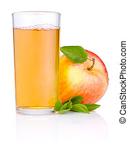 Apple juice in glass and Red juicy apple with green leaf on...