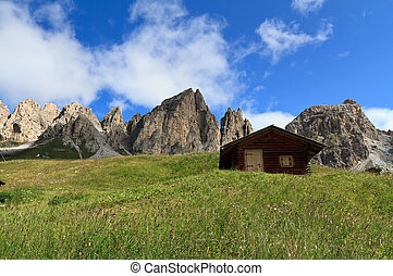 Cirspitzen Dolomites - Gardena pass - barns beneath Cir...