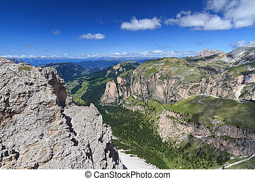High Gardena valley - aerial view of Val Gardena on summer,...