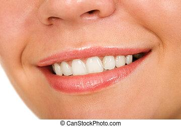 smile - the female lips with cosmetics macro shot