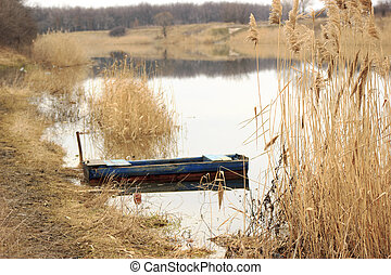 Empty boat at rushy shore - Empty wooden boat moored at...